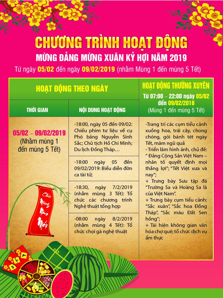 Thông báo tổ chức hoạt động mừng Đảng - mừng Xuân Kỷ Hợi năm  2019 tại Khu Di tích Nguyễn Sinh Sắc