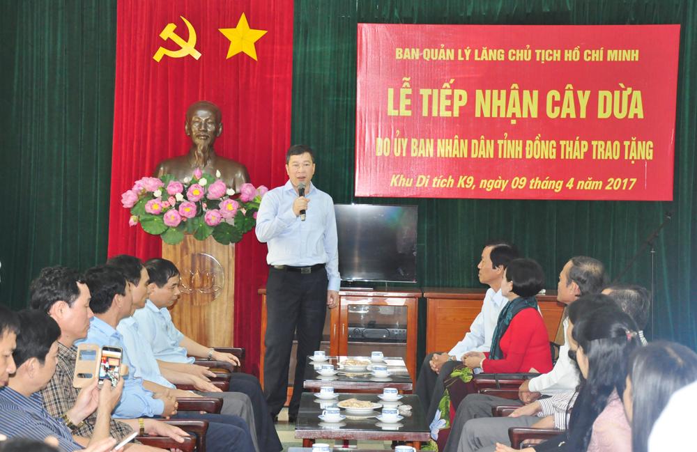 Khu Di tích Lịch sử K9 – Ba Vì làm lễ tiếp nhận 8 cây dừa Khu Di tích Nguyễn Sinh Sắc, do Đảng bộ, nhân dân tỉnh Đồng Tháp tặng