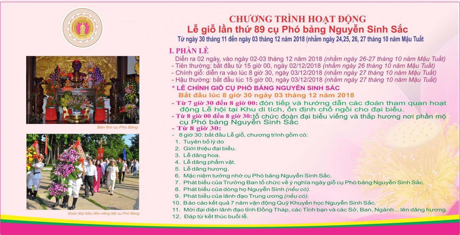 Chương trình hoạt động Lễ giỗ lần thứ 90 của Cụ phó bảng Nguyễn Sinh Sắc