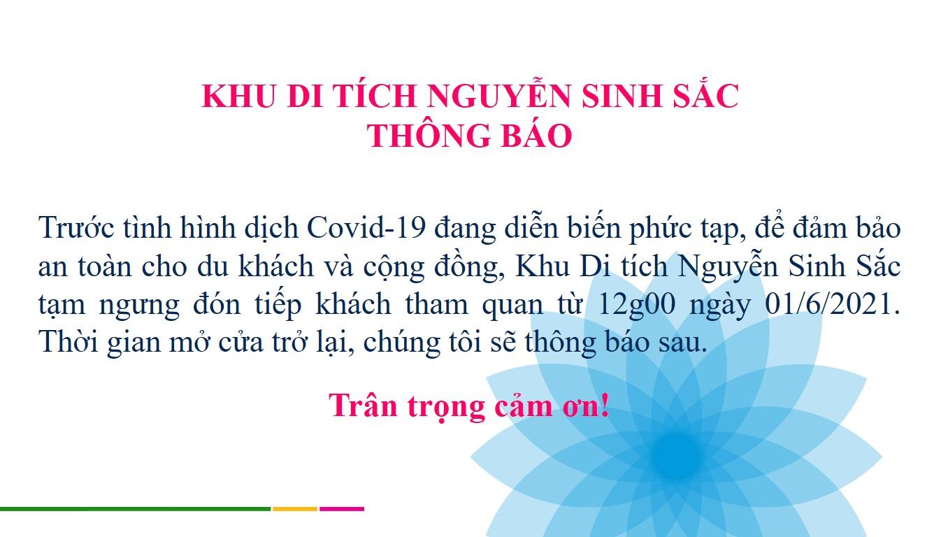 Khu Di tích Nguyễn Sinh Sắc thông báo về việc tạm ngưng đón tiếp khách tham quan